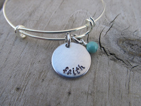 "Faith Inspiration Bracelet- ""faith""  - Hand-Stamped Bracelet- Adjustable Bangle Bracelet with an accent bead in your choice of colors"