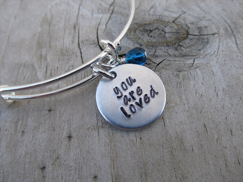 "You Are Loved Bracelet- ""you are loved""  - Hand-Stamped Bracelet- Adjustable Bangle Bracelet with an accent bead of your choice"