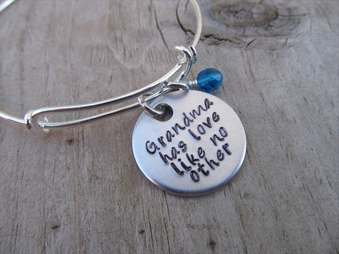 "Grandma Bracelet- ""Grandma has love like no other""  - Hand-Stamped Bracelet- Adjustable Bangle Bracelet with an accent bead of your choice"