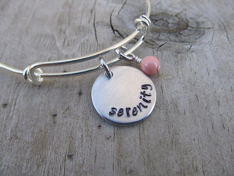 "Serenity Inspiration Bracelet- ""serenity""  - Hand-Stamped Bracelet with an accent bead of your choice"