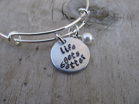 "Life Gets Better Bracelet- ""life gets better""  - Hand-Stamped Bracelet- Adjustable Bangle Bracelet with an accent bead in your choice of colors"