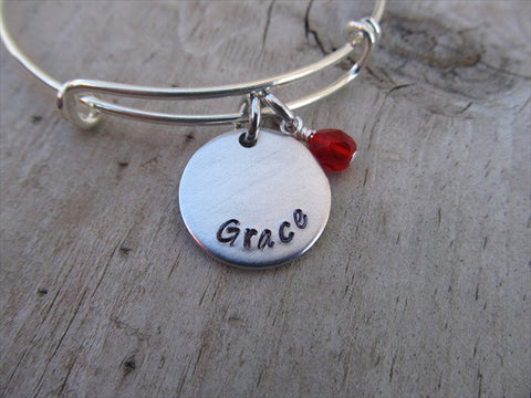 "Grace Inspiration Bracelet- ""Grace""  - Hand-Stamped Bracelet -Adjustable Bangle Bracelet with an Accent Bead of your choice"