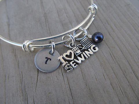 I ♥ Sewing Charm Bracelet- Adjustable Bangle Bracelet with an initial charm and accent bead of your choice