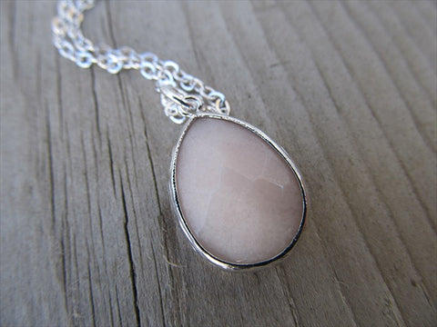 Pale PinkTeardrop Necklace, Simple, Modern, Elegant Necklace- Silver, Pale Pink Jewelry