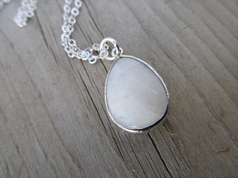 White Teardrop Necklace, Simple, Modern, Elegant Necklace- Silver, White Jewelry