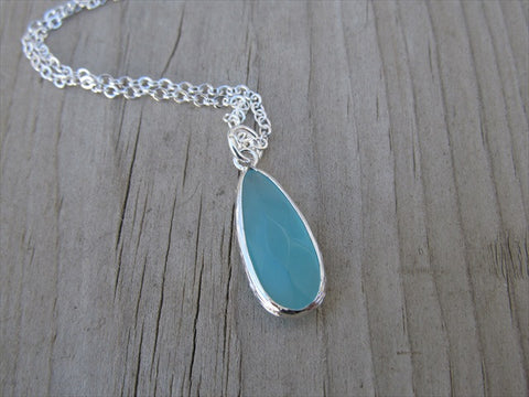 Mint-Colored Narrow Teardrop Necklace, Simple, Modern, Elegant Necklace- Silver, Mint-Colored Jewelry