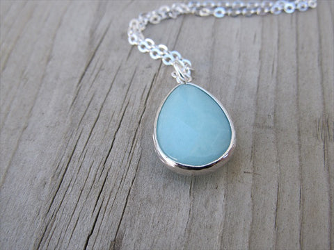 Mint Teardrop Necklace, Simple, Modern, Elegant Necklace- Silver, Mint, Blue/Green Jewelry