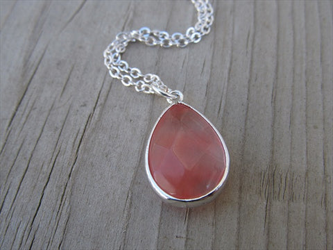 Pink Teardrop Necklace, Simple, Modern, Elegant Necklace- Silver, Pink Jewelry