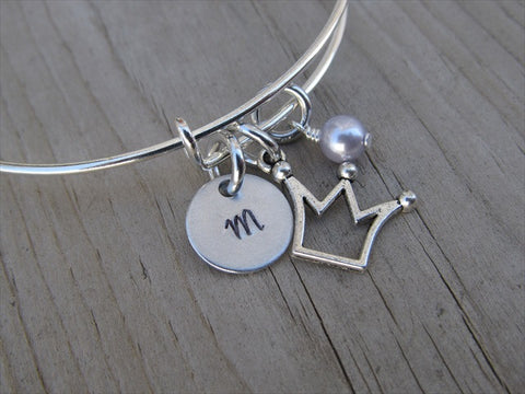 Crown Charm Bracelet- Adjustable Bangle Bracelet with an Initial Charm and an Accent Bead of your choice