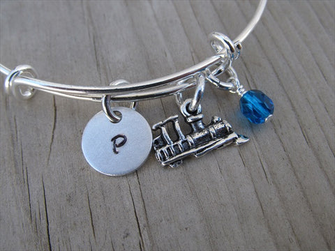 Train Charm Bracelet- Adjustable Bangle Bracelet with an Initial Charm and an Accent Bead of your choice