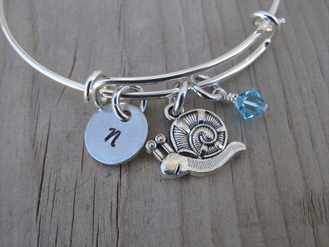 Snail Charm Bracelet- Adjustable Bangle Bracelet with an Initial Charm and an Accent Bead of your choice