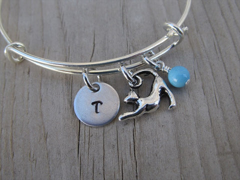 Cat Charm Bracelet- Adjustable Bangle Bracelet with an Initial Charm and an Accent Bead of your choice