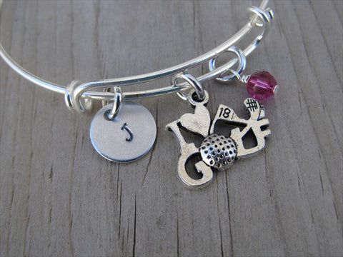 I ♥ Golf Charm Bracelet- Adjustable Bangle Bracelet with an Initial Charm and an Accent Bead of your choice