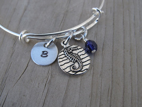 Seahorse Charm Bracelet- Adjustable Bangle Bracelet with an Initial Charm and an Accent Bead of your choice