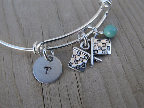 Racing Charm Bracelet- Adjustable Bangle Bracelet with an Initial Charm and an Accent Bead of your choice