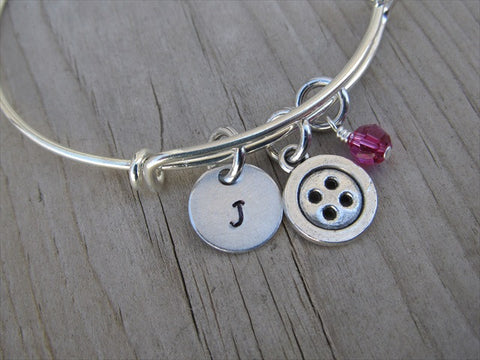 Sewing Charm Bracelet- Button Charm with Initial and Accent Bead of your choice