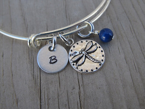 Dragonfly Stingray Charm Bracelet- Adjustable Bangle Bracelet with an Initial Charm and an Accent Bead of your choice