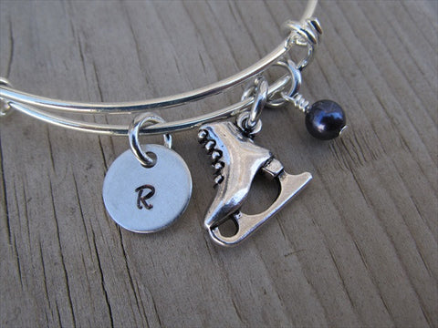 Ice Skating Charm Bracelet- Adjustable Bangle Bracelet with an Initial Charm and an Accent Bead of your choice