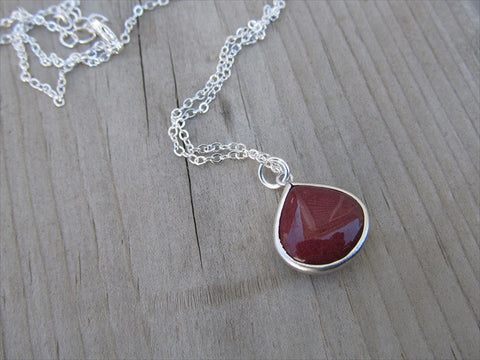 Ruby Red Drop Necklace, Simple, Modern, Elegant Necklace- Silver, Red Jewelry