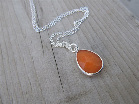 Orange Teardrop Necklace, Simple, Modern, Elegant Necklace- Silver, Orange Jewelry
