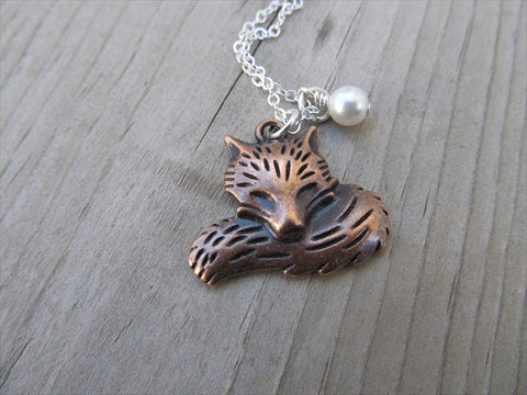 Fox Necklace with a pearl accent bead- Copper Fox
