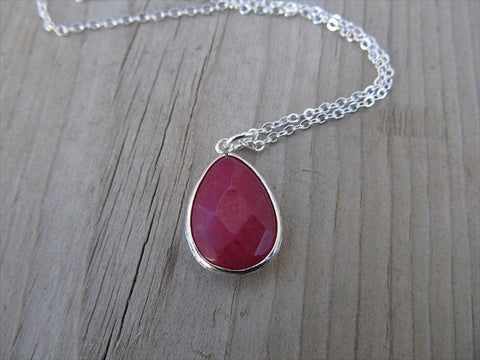 Fuchsia Pink Teardrop Necklace, Simple, Modern, Elegant Necklace- Silver, Fuchsia Pink Jewelry