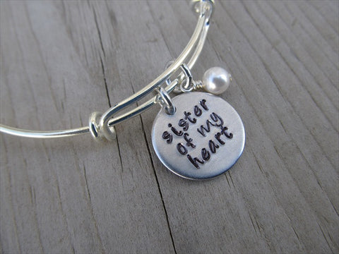 "Sister Of My Heart Bracelet- ""sister of my heart""  - Hand-Stamped Bracelet  -Adjustable Bangle Bracelet with an accent bead of your choice"