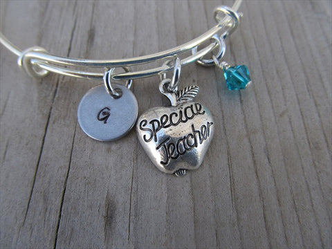 Teacher Charm Bracelet -Adjustable Bangle Bracelet with an Initial Charm and Accent Bead of your choice