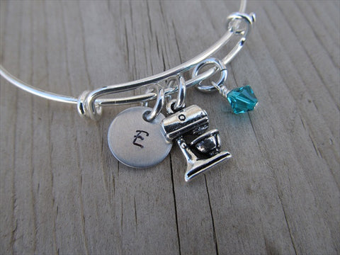 Chef or Baker Charm Bracelet- Kitchen Mixer Charm Bracelet with Initial and Accent Bead