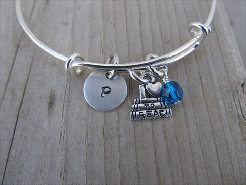 Love to Read Charm Bracelet -Adjustable Bangle Bracelet with an Initial Charm and Accent Bead of your choice