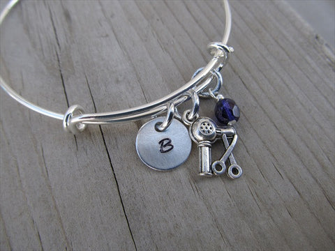 Hair Dresser Charm Bracelet-  Adjustable Bangle Bracelet with an Initial Charm and an Accent Bead in your choice of colors