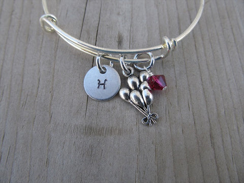 Balloon Charm Bracelet- Adjustable Bangle Bracelet with an Initial Charm and an Accent Bead of your choice