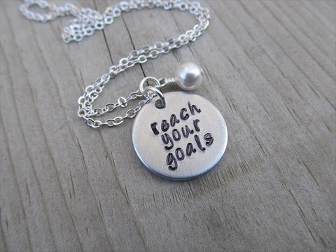 "Reach Your Goals Inspiration Necklace- ""reach your goals""  - Hand-Stamped Necklace with an accent bead in your choice of colors"