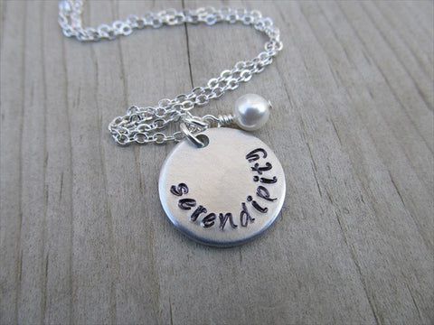 "Serendipity Inspiration Necklace- ""serendipity"" - Hand-Stamped Necklace with an accent bead of your choice"