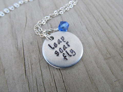 "Leap Soar Fly Inspiration Necklace- ""leap soar fly"" - Hand-Stamped Necklace with an accent bead in your choice of colors"