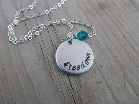 "Freedom Inspiration Necklace- ""freedom"" - Hand-Stamped Necklace with an accent bead of your choice"