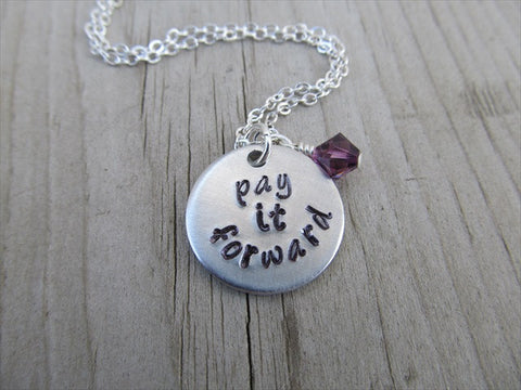 "Pay It Forward Inspiration Necklace- ""pay it forward"" - Hand-Stamped Necklace with an accent bead of your choice"