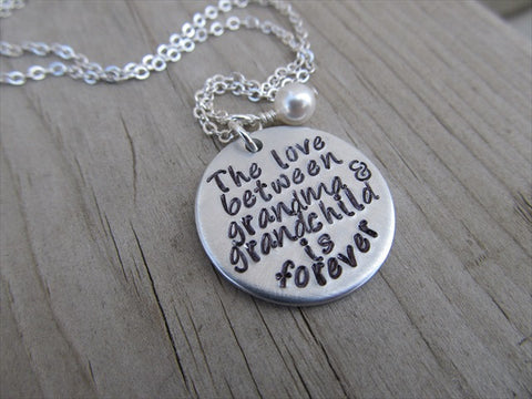 "Grandmother's Necklace- ""The love between grandma & grandchild is forever""  - Hand-Stamped Necklace with an accent bead in your choice of colors"
