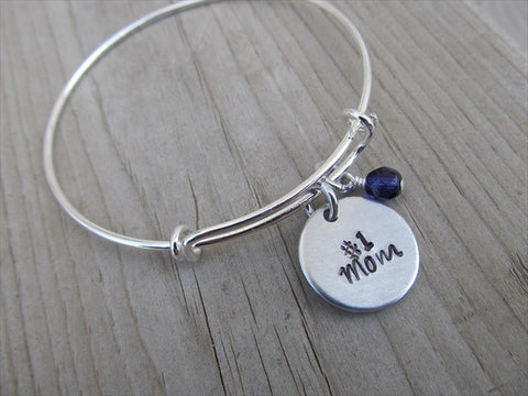 "Mother's Bracelet- ""#1 Mom""  - Hand-Stamped Bracelet  -Adjustable Bangle Bracelet with an accent bead of your choice"