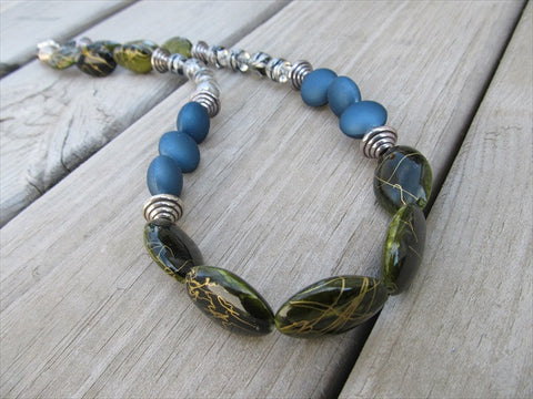 Bold, Statement Necklace- Chunky Beaded Necklace- Sage Green, Denim Blue, Clear, Silver, Black