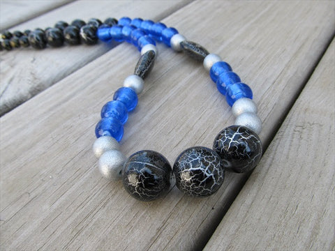 Bold, Statement Necklace- Chunky Beaded Necklace- Blue, Black, Silver