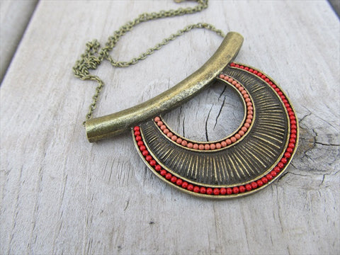 Tribal-Inspired Necklace - Antique Gold, Red, and Orange