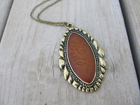 Antique Gold and Faux Leather Necklace - Rose Necklace