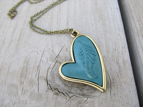 Antique Gold and Faux Leather Necklace- Dusty Teal Heart Necklace