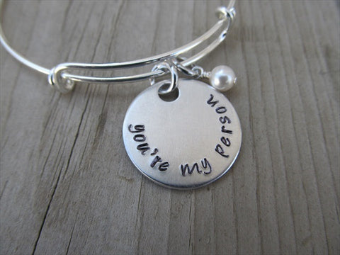 "Friendship Bracelet- ""you're my person""  - Hand-Stamped Bracelet- Adjustable Bangle Bracelet with an accent bead in your choice of colors"