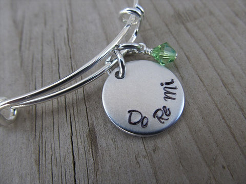 "Do Re Mi Inspiration Bracelet- ""Do Re Mi""  - Hand-Stamped Bracelet  -Adjustable Bangle Bracelet with an accent bead of your choice"