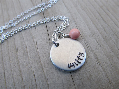 "Unity Inspiration Necklace- ""unity"" - Hand-Stamped Necklace with an accent bead of your choice"