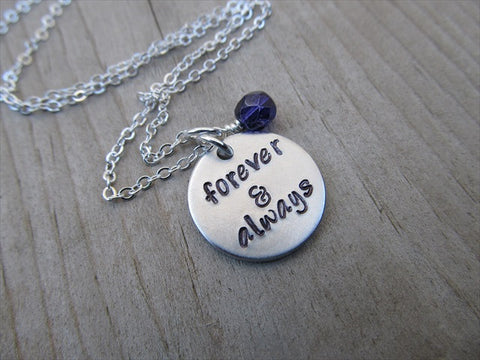 "Forever & Always Inspiration Necklace- ""forever & always""- Hand-Stamped Necklace with an accent bead in your choice of colors"