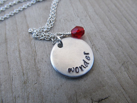 "Wonder Inspiration Necklace- ""wonder""- Hand-Stamped Necklace with an accent bead in your choice of colors"