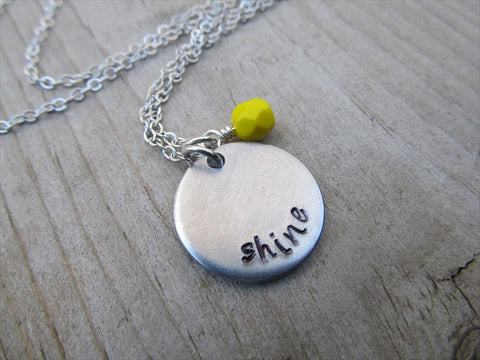 "Shine Inspiration Necklace- ""shine""- Hand-Stamped Necklace with an accent bead in your choice of colors"